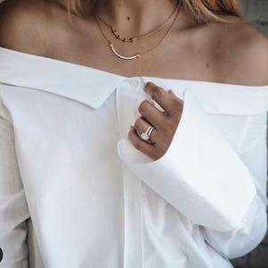 Zara white poplin boat neck button up